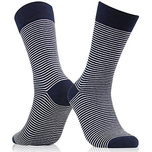 Business Suit Dress Socks, SUTTOS Men's Custom Elite Black White Fashion Striped Patterned Cotton Blend Mid Calf Long Tube Groomsmen Wedding Casual Crew Dress Socks Men, 2 Pairs