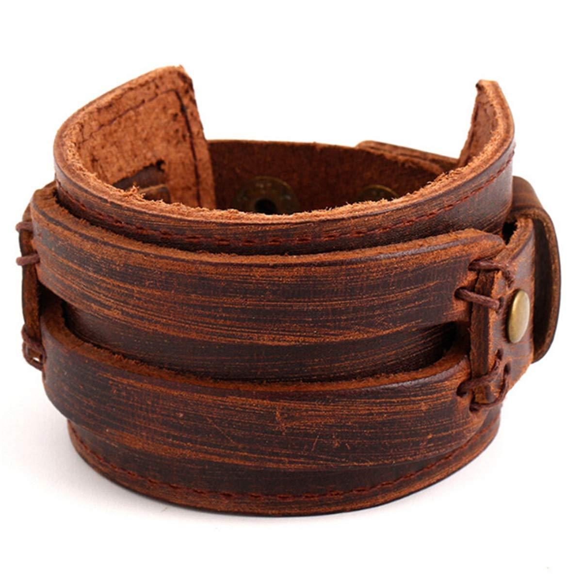 BNNNEA Cuff Bracelets /& Bangles Wristband Retro Male Jewelry Wholesale Handmade Brown Vintage Braclet Men Wide Leather Wrap