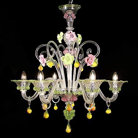 Lámpara Murano Zara - 6 luces - Cristal Diseño Rosa y Verde ...
