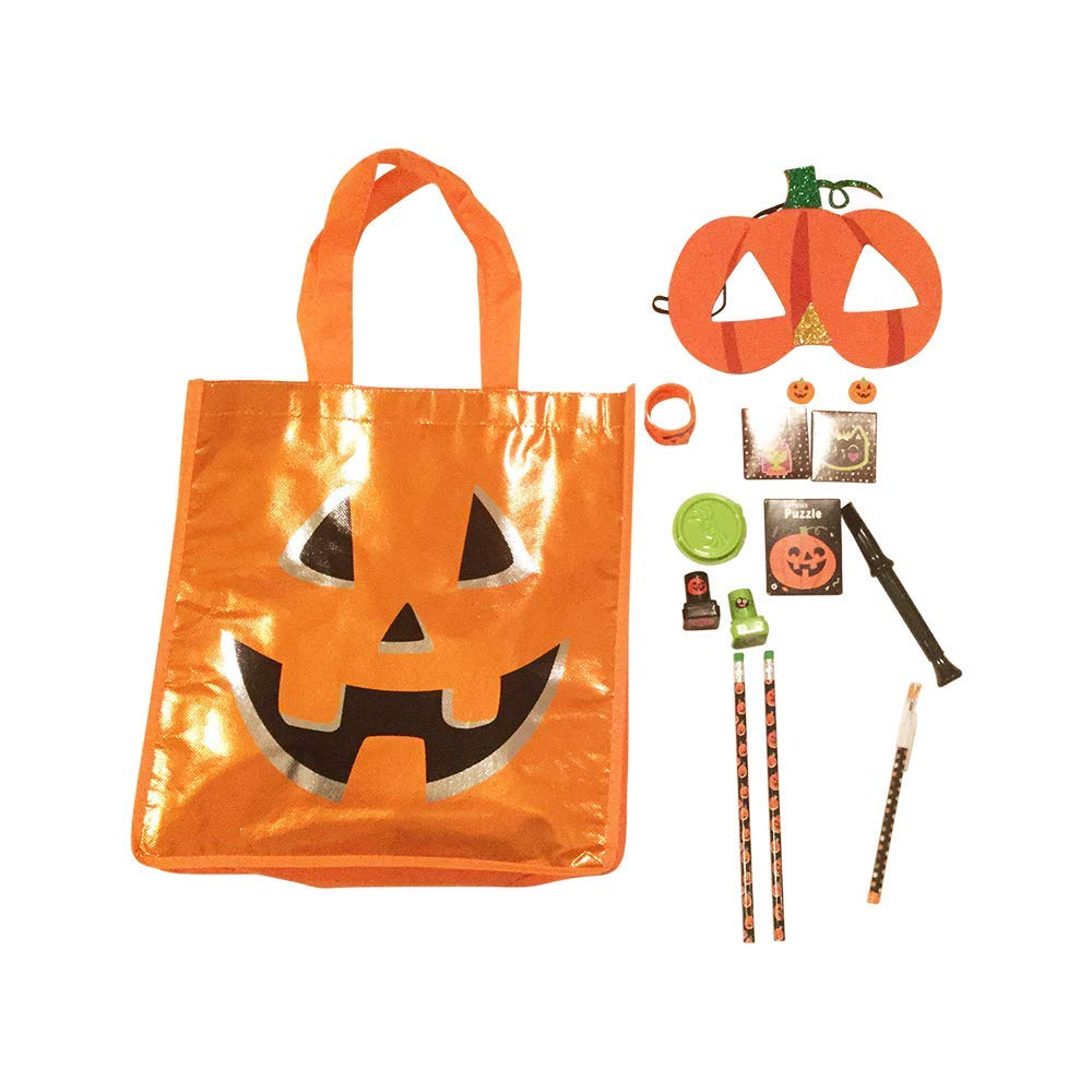Pumpkin Tote Bag w/pencils/stamps/Halloween toy/eraser