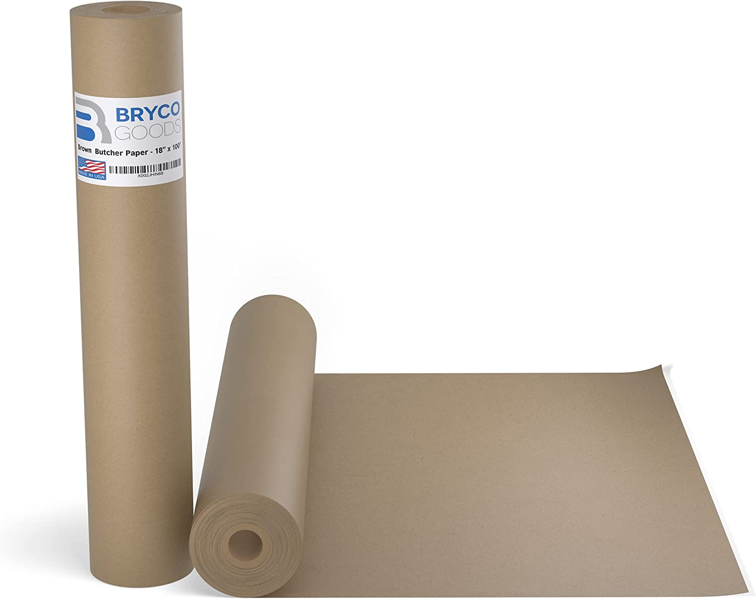 Brown Kraft Butcher Paper Roll - 18 Inch x 100 Feet (1200 Inch) - Food Grade Wrapping Paper for Smoking Meat of all Varieties – Unbleached, Unwaxed and Uncoated - Made in USA