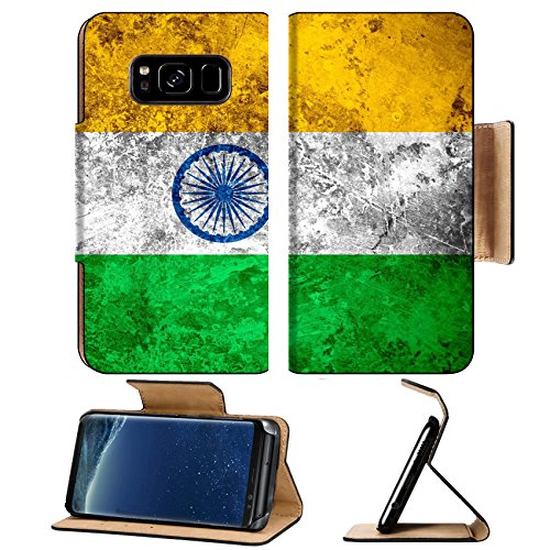 Luxlady Premium Samsung Galaxy S8 Plus S8+ Flip Pu Leather Wallet Case IMAGE ID 31117111 flag of India or banner on vintage metal - Chart Ban