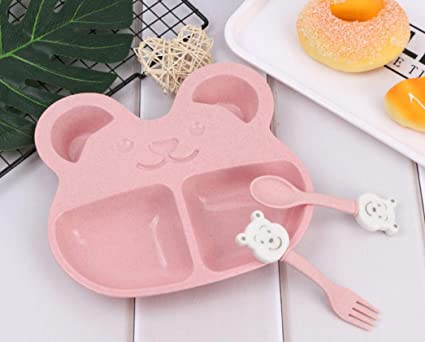 SunnyGod Paja de Trigo para niños Vajilla Cubertería de Tenedor Oso Cubertería de Dibujos Animados (