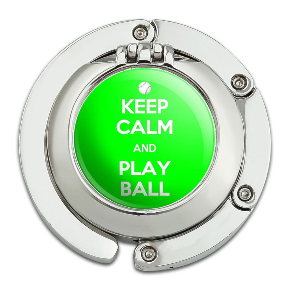Keep Calm And Play Ball Baseball Foldable Table Bag Purse Caddy Handbag Hanger Holder Hook with Folding Compact Mirror