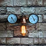 Industrial Wind Wall Lamp Retro Water Pipe Lamp European Nostalgic Iron Interior Lighting Steam Punk Water Pipe 2 Water Table Wall light Bar Restaurant Decoration Lamps
