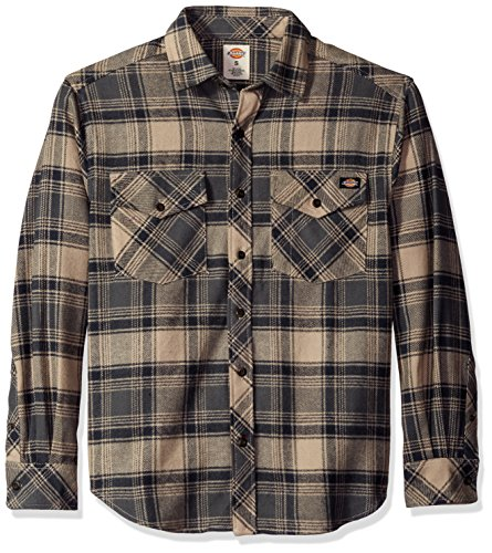 Brawny Shirt Flannel - Dickies Men's Relaxed Fit Long Sleeve Brawny Flannel Shirt, Desert Sand/Charcoal, S