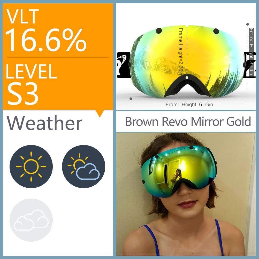 ZIONOR XA Ski Snowboard Snow Goggles for Men Women Anti-Fog UV Protection Spherical Dual Lens Design