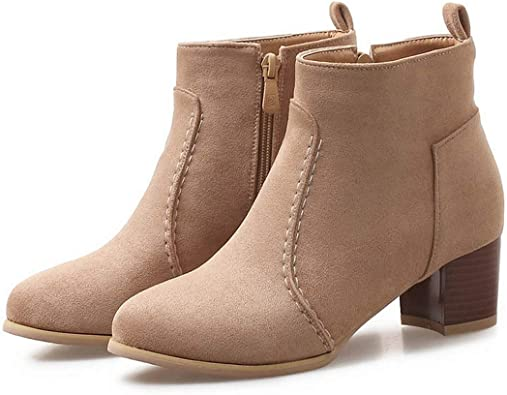 Womens Side Zip Casual Apricot Black Ankle Boots