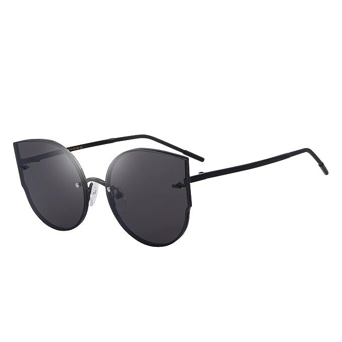 a8b43a385c MERRY S Women Classic Cat Eye Sunglasses Rimless Metal Frame Sun Glasses  S8099 (Black