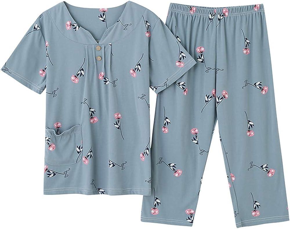 Conjunto de Pijamas de Ropa de Dormir de Talla Grande para Mujer Pijamas Decorados de Cuello Cuadrado Verano Nuevas Pijamas de Mujer: Amazon.es: Ropa y accesorios