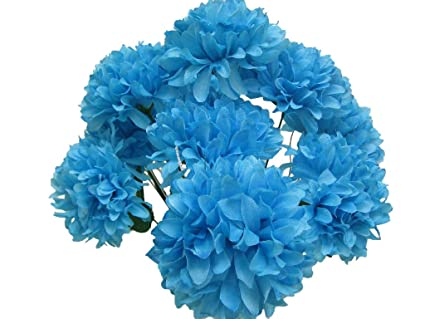 Amazon chrysanthemum mum ball bush 10 artificial silk flowers chrysanthemum mum ball bush 10 artificial silk flowers 19quot bouquet 2302 blue turquoise mightylinksfo