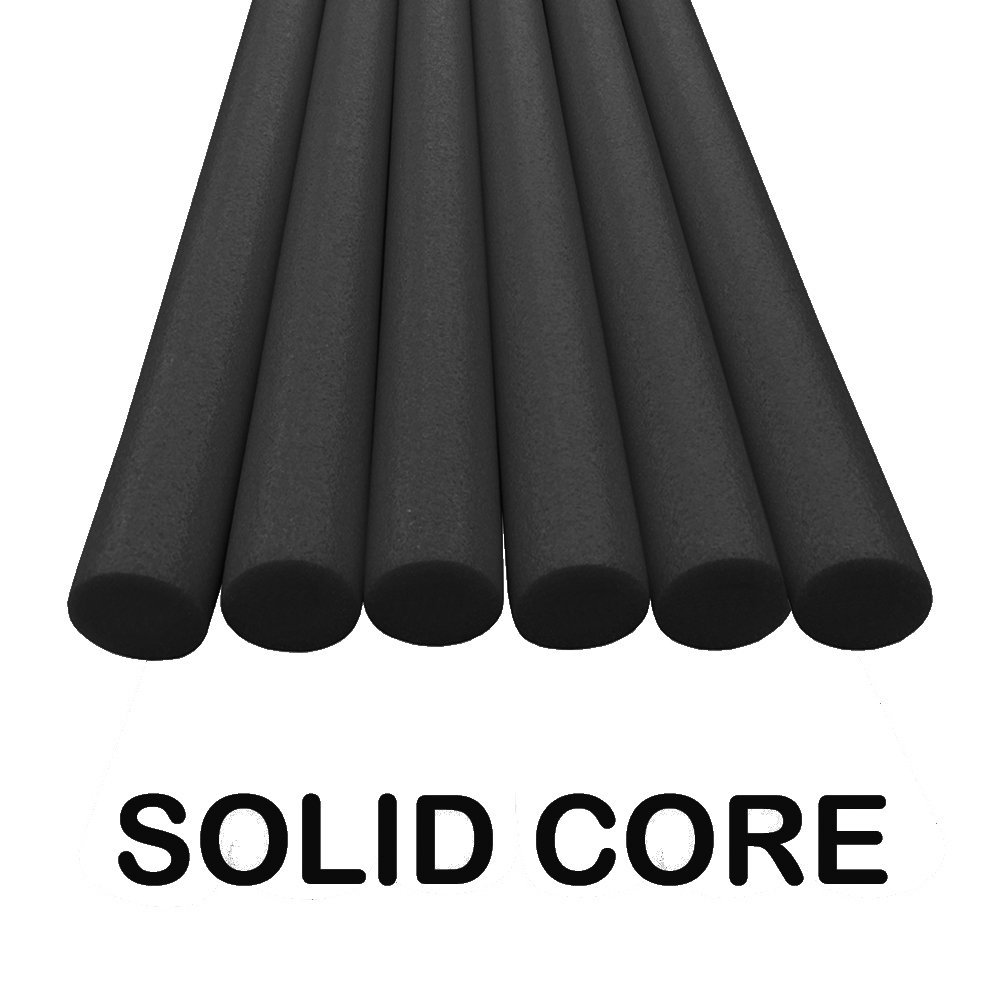 Oodles Solid Core Deluxe Foam Pool Swim Noodles Five Foot Length- 6 Pack Black by Oodles of Noodles