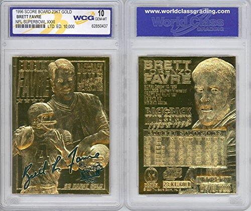 (BRETT FAVRE 1996 NFL Super Bowl XXXI 23KT Gold Card Sculpted Graded GEM MINT 10)