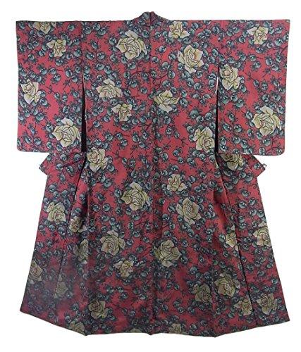 悪名高い呪い無法者アンティーク 着物 銘仙 乙女派 薔薇の花 裄60.5cm 身丈149cm