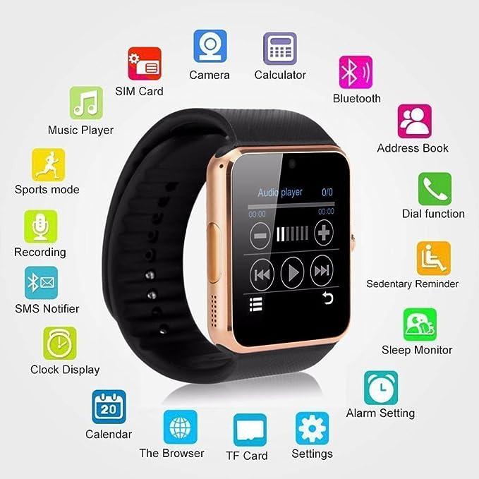 Reloj inteligente TOP-MAX GT08 con Bluetooth con ranura para tarjeta SIM para Android, iOS, iPhone 7, 7 Plus, 8, 8 Plus y X, color dorado: Amazon.es: Hogar