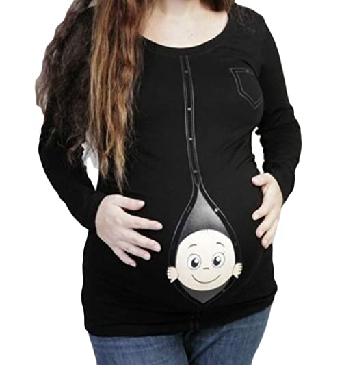 Zimaes-Women Sexy Wild Pregnant Solid Baggy Printed Tops T-Shirts Black XL