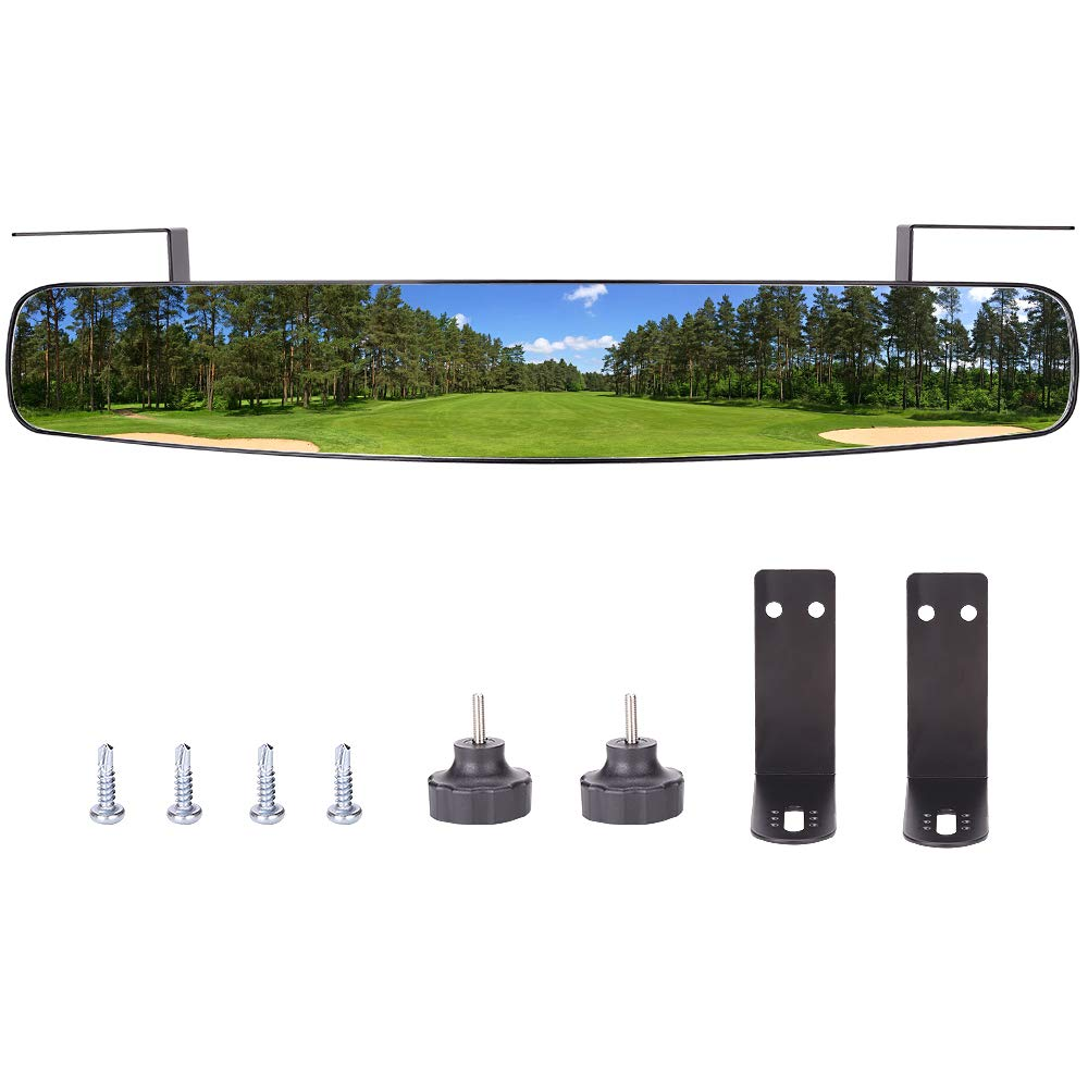 Rear View Mirror,World 9.99 Mall 16.5 Extra Wide 180 Degree Panoramic Generic of E-Z-GO Yamaha Rear View Mirror Black Mirror Black
