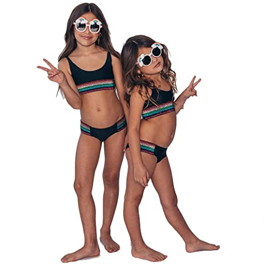 e2a41833e46d5 Amazon.com  Mother and Daughter Matching Swimsuits 2 Pieces Sequin Bikini  Set Rainbow Stripe Bathing Suit  Clothing