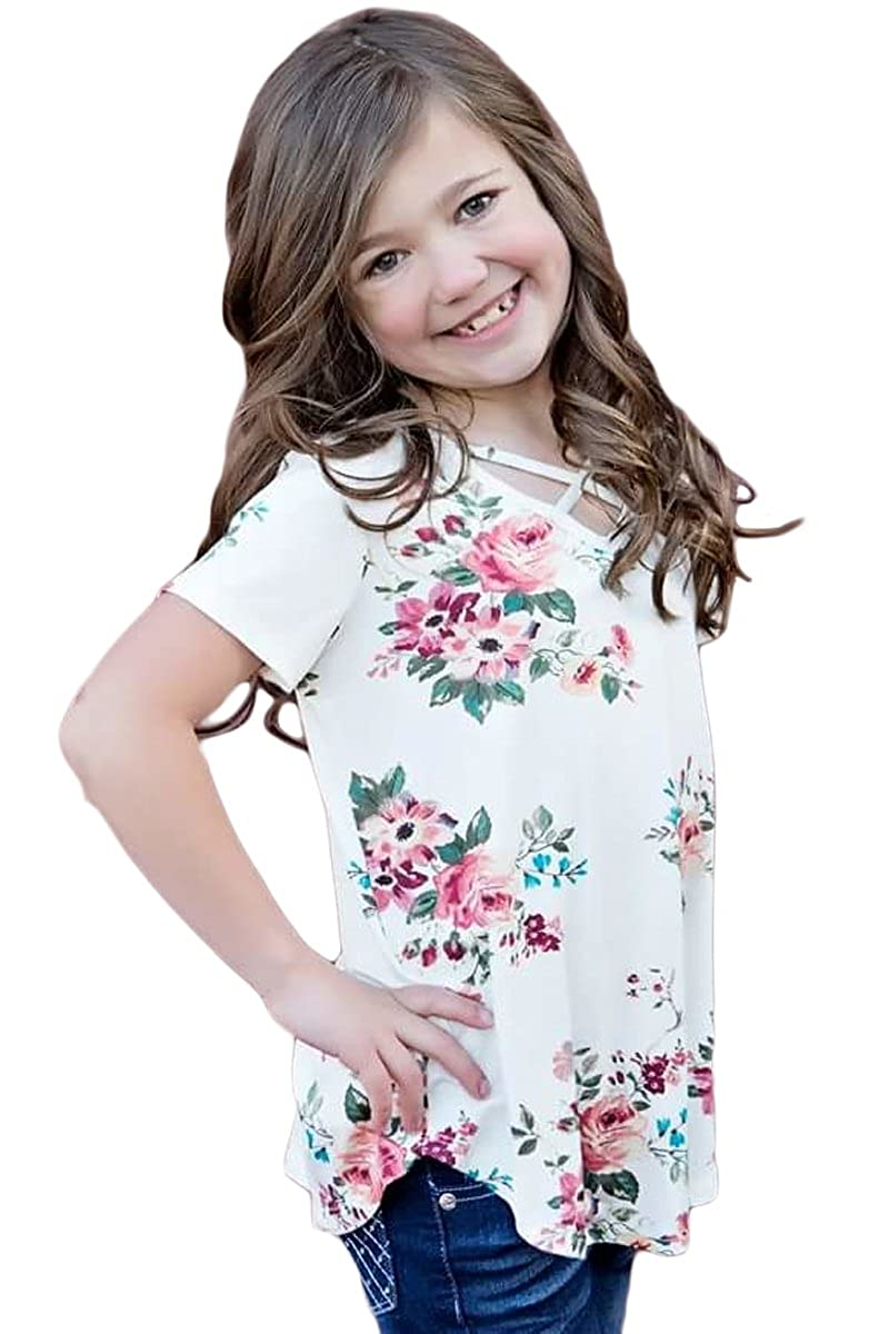 Faymio Little Girls Crisscross V Neck Floral Print Curved Hemline T-Shirt Blouse Top 4-13Years