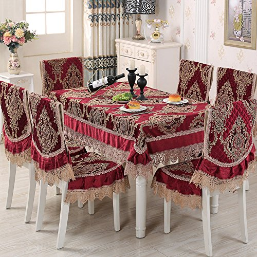 (HuaShao HuaShaoShort Dining Seat Upholstery Fabrics Set A Rectangular Home Dining Table Cloth Square Back Set Of Four Seasons Universal, Red, Chair Pads & Back)