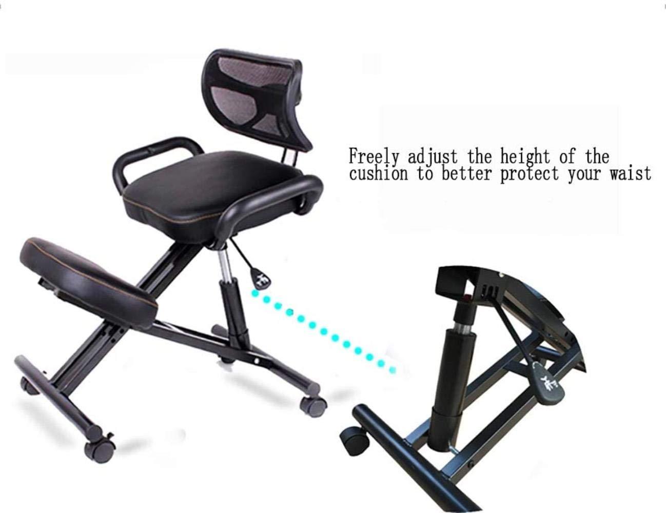 Stol hållningskorrigering, ergonomisk knådande justerbar knäpall för kontor hem balanserande kroppsform ryggsmärta skrivbord dator knäpall, grön, färg: röd (färg: Röd) Röd