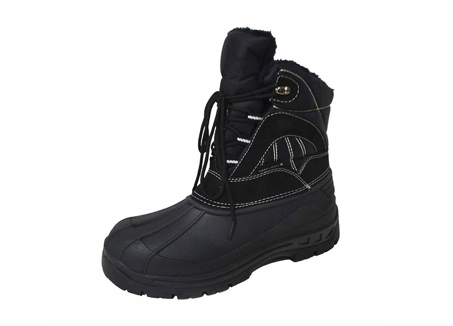 Men's Water Resistant Lace-up Comfort Cold Winter Snow Boots Black (A-Y05)