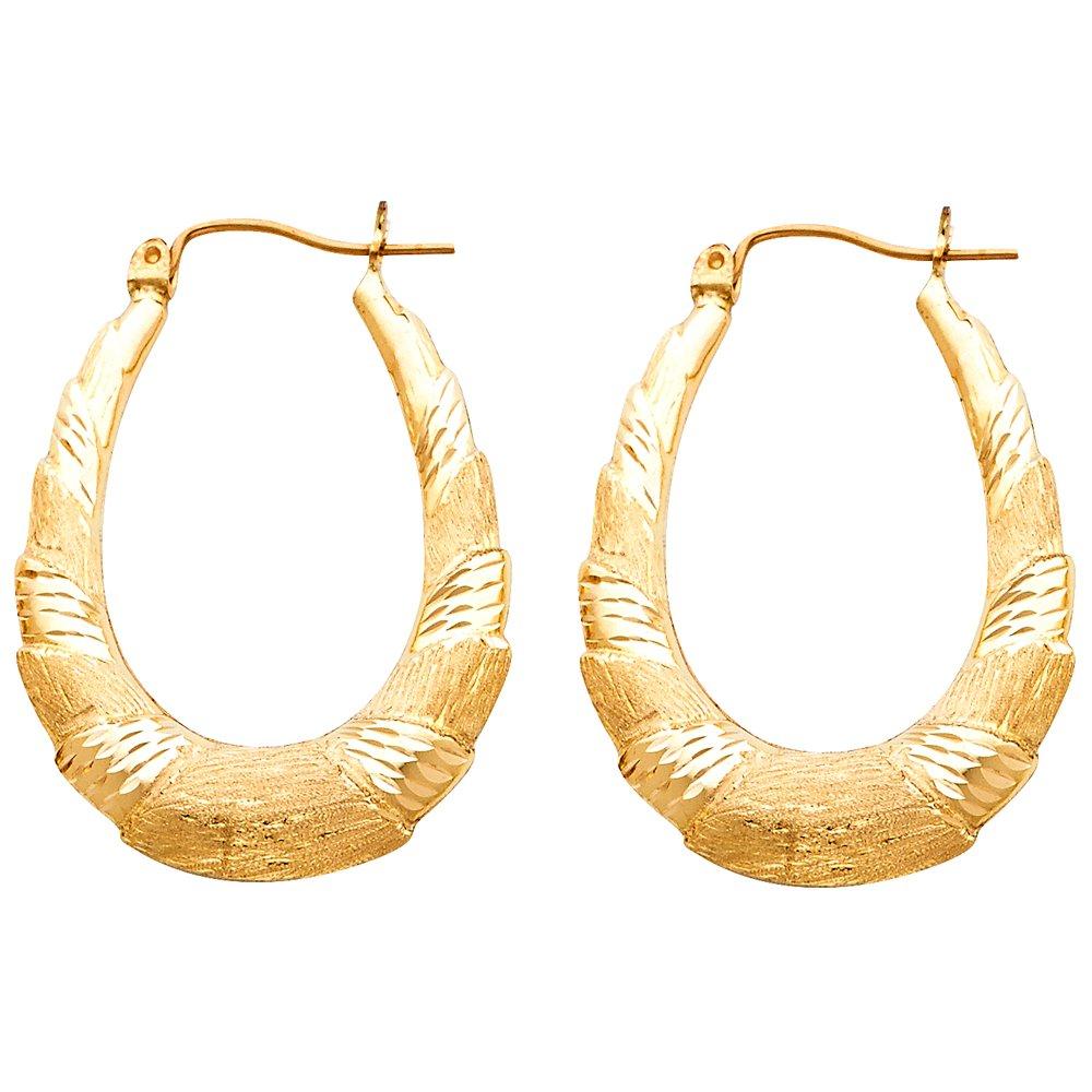 Ioka 14K Yellow Gold Fancy Hollow Hoop Hinged Earrings
