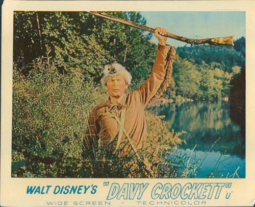 DAVY CROCKETT FESS PARKER WALT DISNEY LOBBY CARD RARE ORIGINAL HOLDING RIFLE from Silverscreen