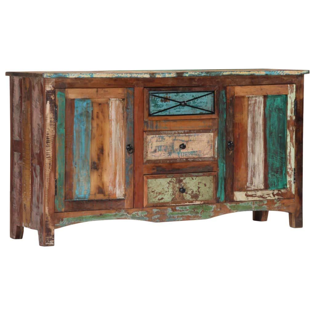Festnight- Sideboard mit 3 Schubladen und 2 Türen Kommode Schrank Anrichte Highboard Standschrank Recyceltes Massivholz 150 x 40 x 80 cm