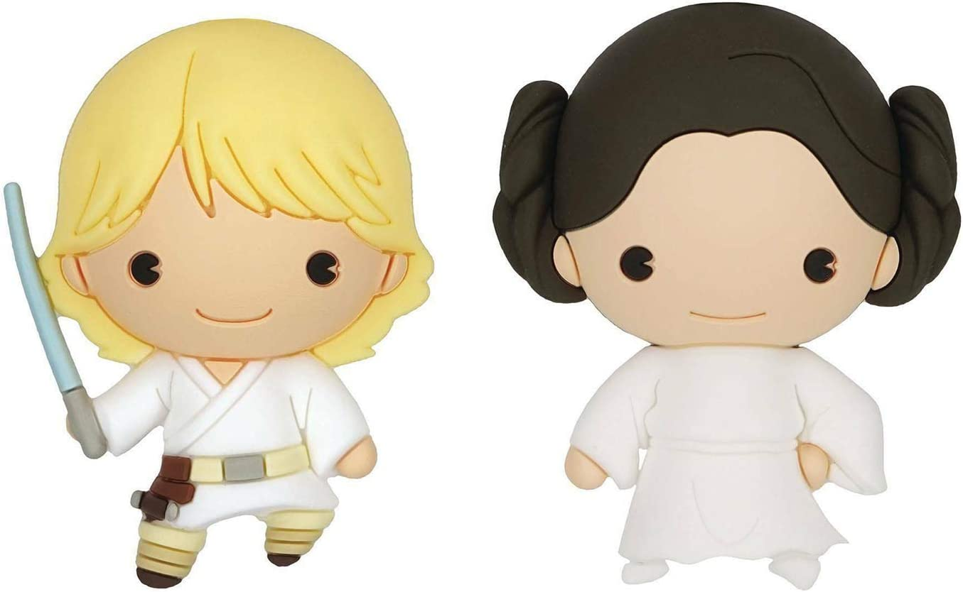 Star Wars Luke Skywalker and Princess Leila 3D Foam Kitchen Refrigerator Fridge Magnet (2 Pack)