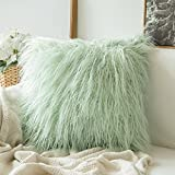 MIULEE Decorative New Luxury Series Style Green Faux Fur Throw Pillow Case Cushion Cover for Sofa Bedroom Car 20 x 20 Inch 50 x 50 cm