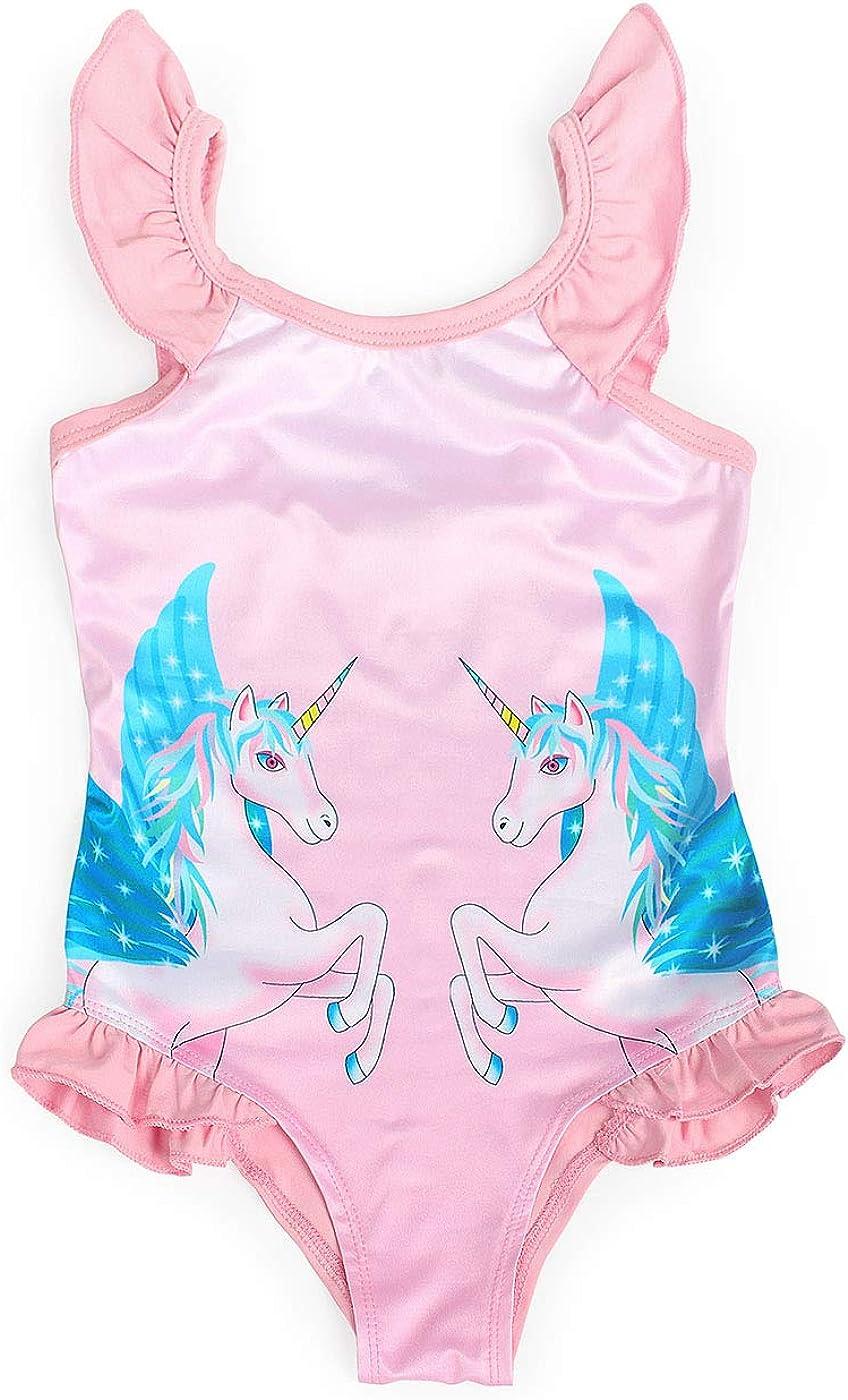 Jurebecia Girls One Piece Unicorn Swimsuit Ruffle Sleeve Swimwear Swimming Suits Beach Bathing Suit