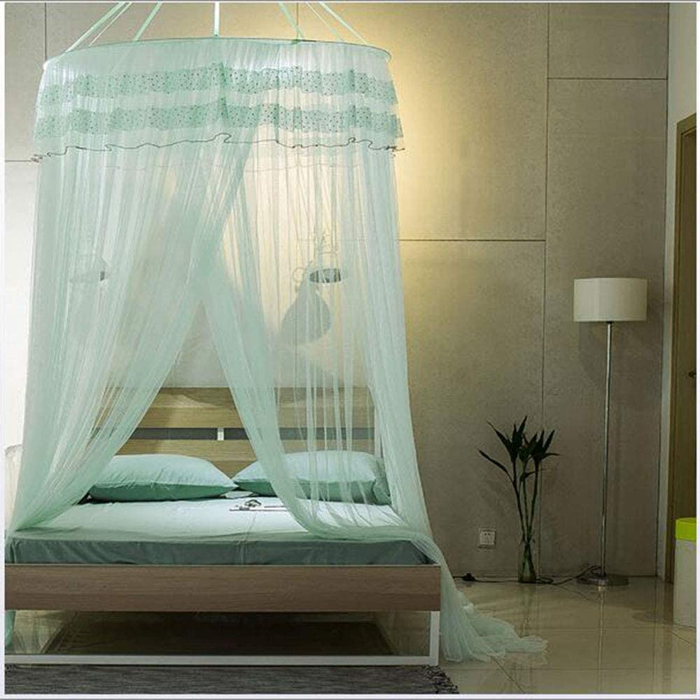 Awlly Princess Sleep Summer Ceiling Round Nailless Suction Cup Mosquito Net Lace 360&Deg; Comprehensive Anti-Mosquito Household Indoor Decorations,200220Cm