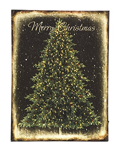 OSW 15.75 x 11 .75 Lighted Merry Christmas Tree LED Art Canvas Light up Picture