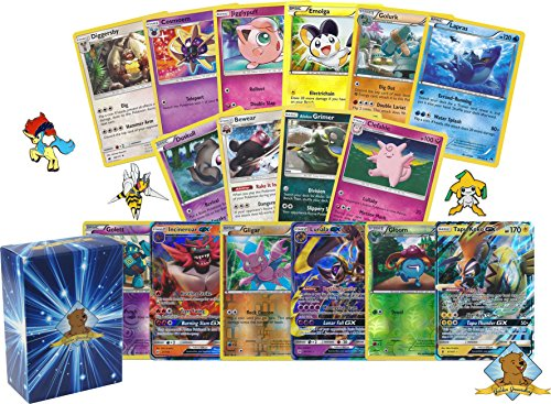 100 Pokemon Cards with Pokemon GX Card - Foils - Pokemon Collectible Pin! Includes Golden Groundhog Box!