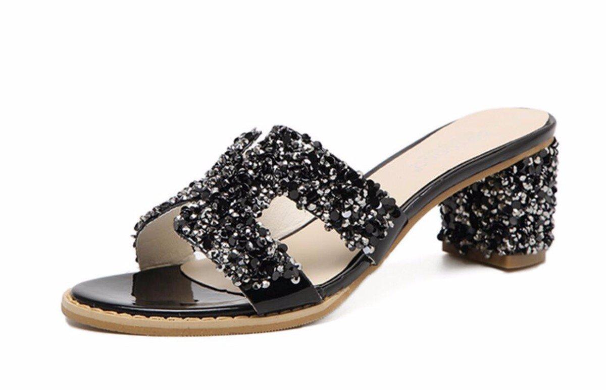 GTVERNH Damenschuhe Sommerschuhe Sommer Hausschuhe Wasser Läuft 6 cm Hochhackigen Schuhe Harte Sohle Draußen Tragen Kalten Drag Weiblich Semi - Trailer