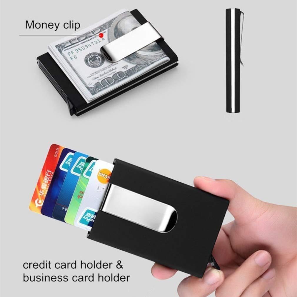 RFID Blocking Credit Card Holder, XSLEGO Business Card Holder Protector Magic Pop Up Aluminum Wallet Money Clip (Blue) by XSLEGO (Image #5)