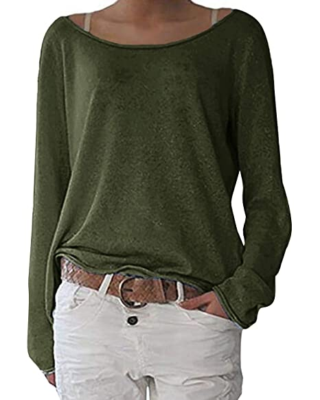 0ef8836d4 ZANZEA Women's Solid O Neck Long Sleeve T Shirt Casual Knit Tops Blouse  Pullover