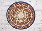 16'' X-Large African Basket- Watamu / Rwanda Basket / Woven Bowl / Sisal & Sweetgrass Basket / Blue, Brown, White