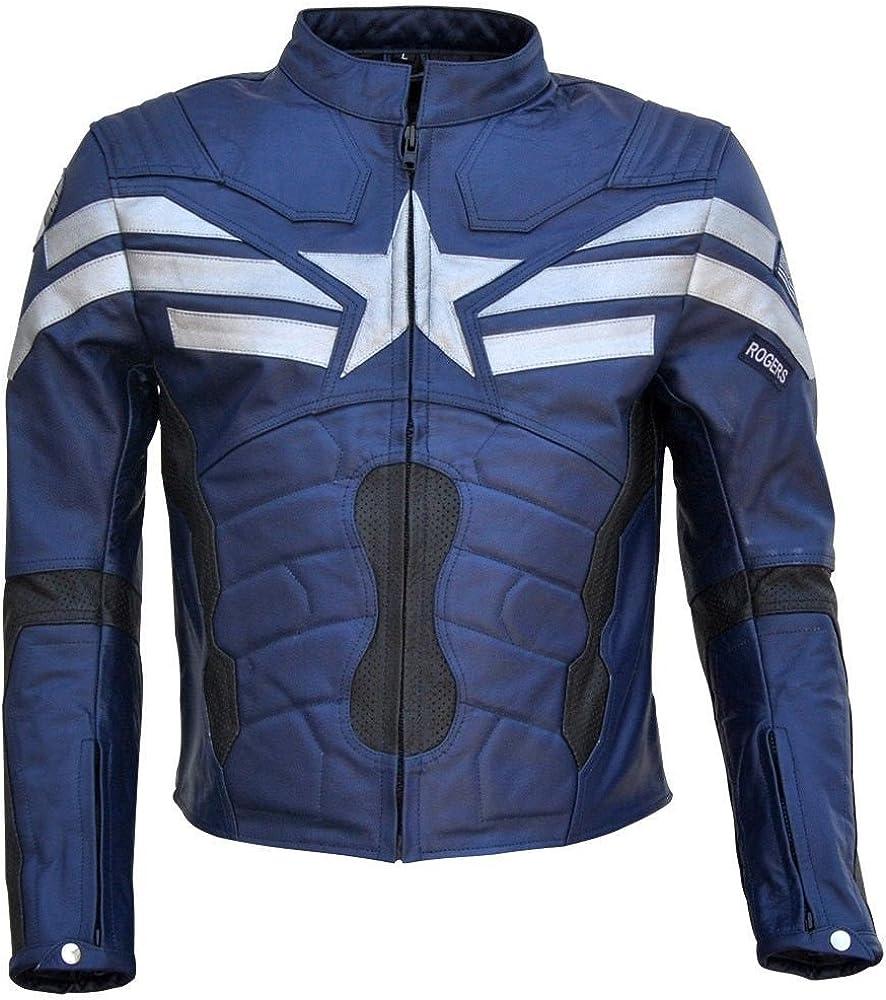 SRHides Mens Captain Winter Soldier Real Leather America Jacket