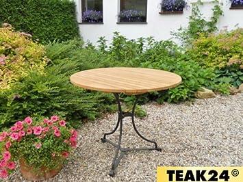 Longlife Teak Gartentisch Rund 90 Cm Eisengestell H0603 Amazon