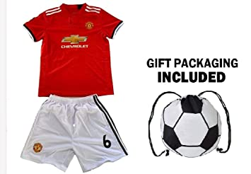 info for 84d5f 3062a MFC Pogba Jersey Youth #6 Kids Soccer Jersey + Shorts + Gift = Premium Gift  Kids Boys Girls Football Paul Pogba 6
