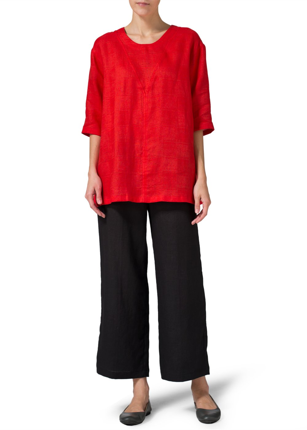 Vivid Linen Scoop-Neck Tunics-2X-Red