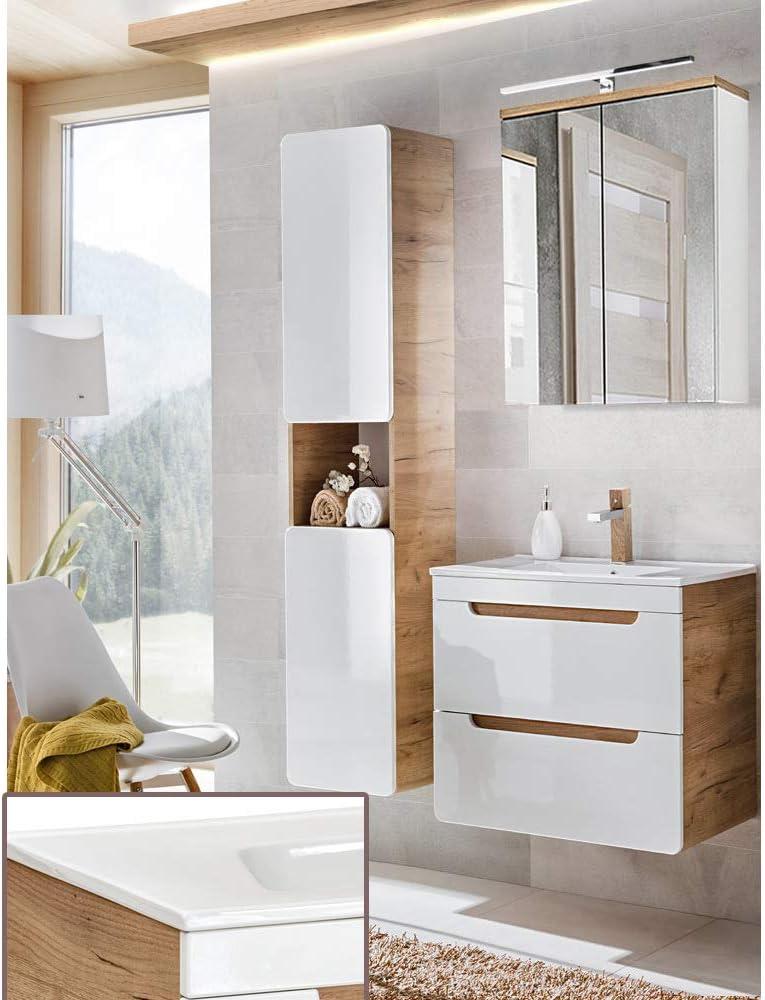 Lomadox Komplett Badezimmer Set in Hochglanz weiß mit Wotaneiche, 60cm Keramik-Waschtisch mit Unterschrank, LED-Spiegelschrank & Hochschrank 1
