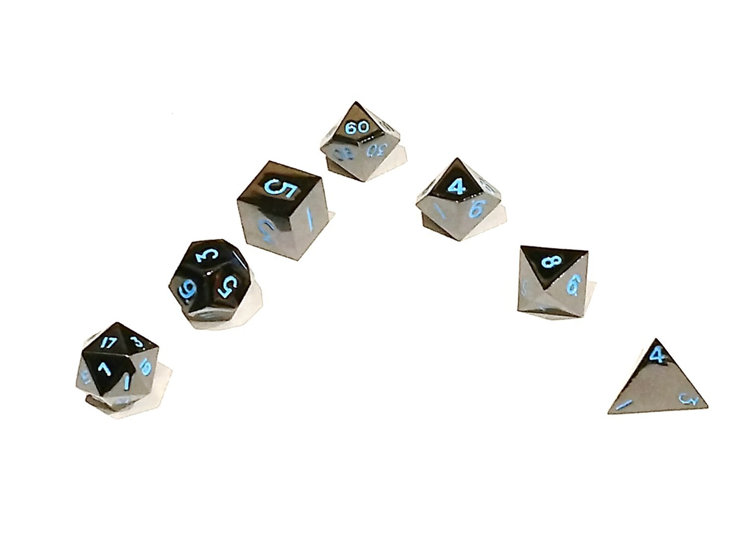 Dice Dungeons Black Frost Metal 7pc Dice Set With Bag for D&D, Pathfinder, and other Role Playing Games.