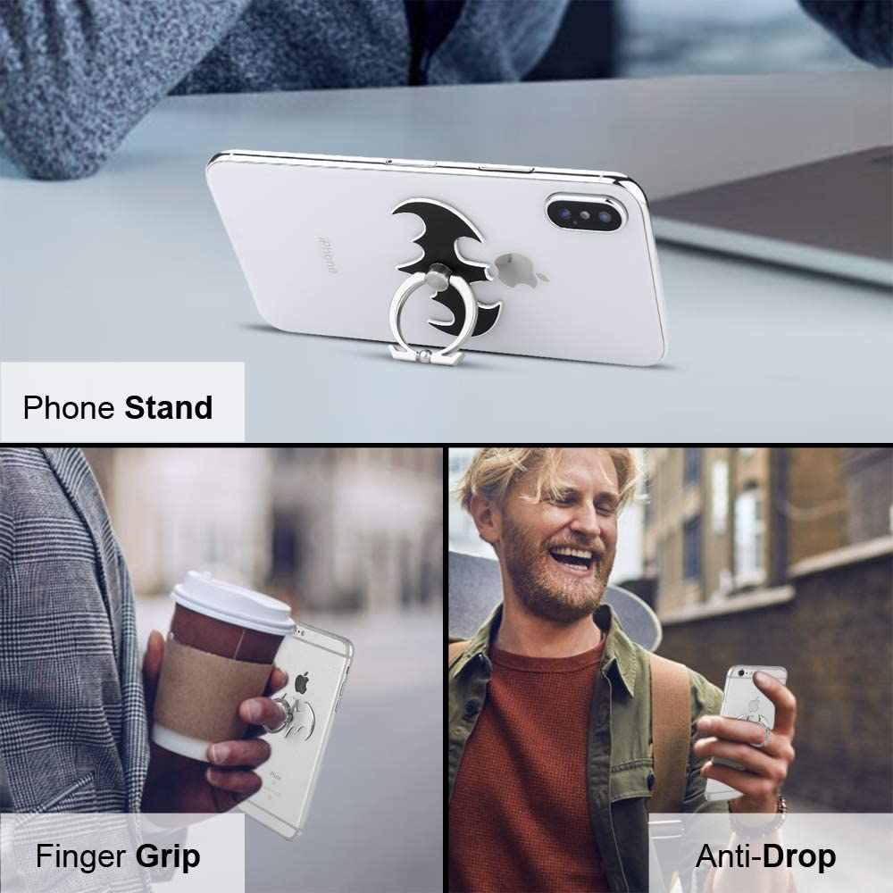 Phone Ring Cell Phone Ring Holder Stand Finger Loop Grip Stent Cradle 360Degree Rotation Bracket Mount Kickstand Compatible for All Cell Phones Types and Tablets Holder Bat, 3pcs