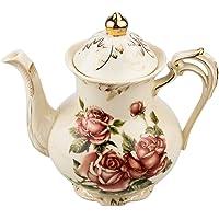 Rose Pattern Ceramic Tea Pot, STARVAST Vintage Floral Pottery Teapot Ivory 28oz Large Porcelain Decorative Teapot, Gifts…