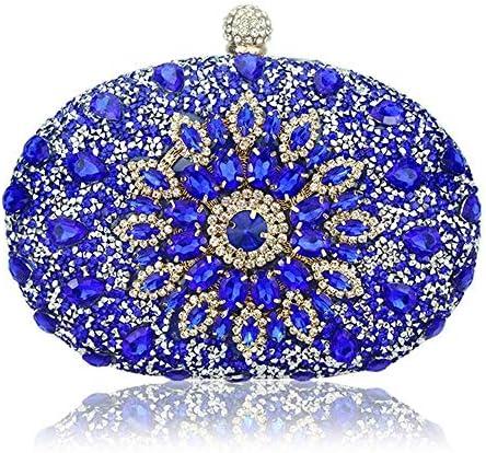 クラッチ、ダイヤモンドクリスタルフラワーブルーレッドスリングデザイナー財布、携帯ポケット、財布ハンドバッグ、光沢のあるファブリック 美しいファッション