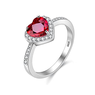 6f0ad266c4 Uloveido Ladies 2.4g 925 Sterling Silver Cushion Cut 0.8 CT Red Natural  Garnet Gemstone Heart