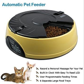 Comedero Automático Para Perros Gatos Y Mascotas Dispensador Pet Feeder 6 Comidas,Yellow: Amazon.es: Deportes y aire libre